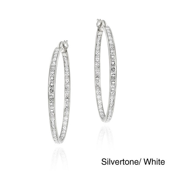 DB Designs Rhodiumplated Diamond Accent Hoop Earrings