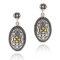 Mondevio Gold Overlay Oval Dangle Filigree Earrings
