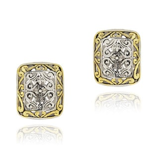 Mondevio Rectangular Filigree Two-tone Stud Earrings with Gold Overlay