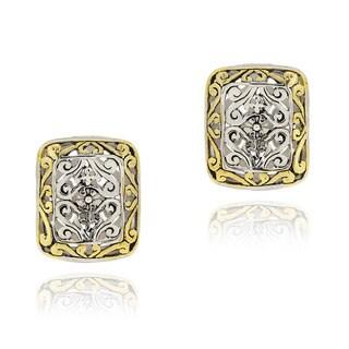 Mondevio Rectangular Filigree Two-tone Stud Earrings with Gold Overlay
