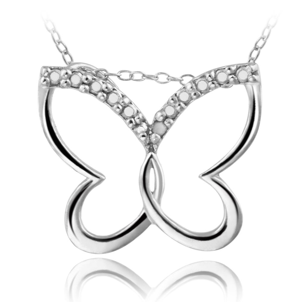 DB Designs Sterling Silver Diamond Accent Butterfly Necklace