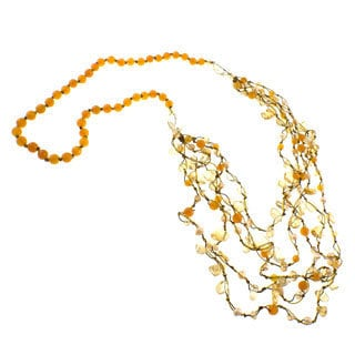 Pearlz Ocean Agate, Citrine, Pearl and Glass Bead Necklace (5-7 mm)