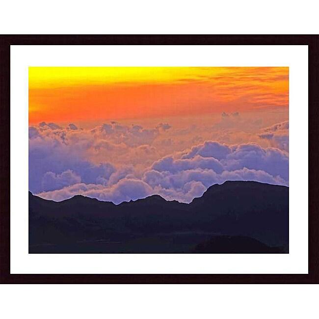 John K. Nataka 'Haleakala Sunrise' Wood Framed Art Print