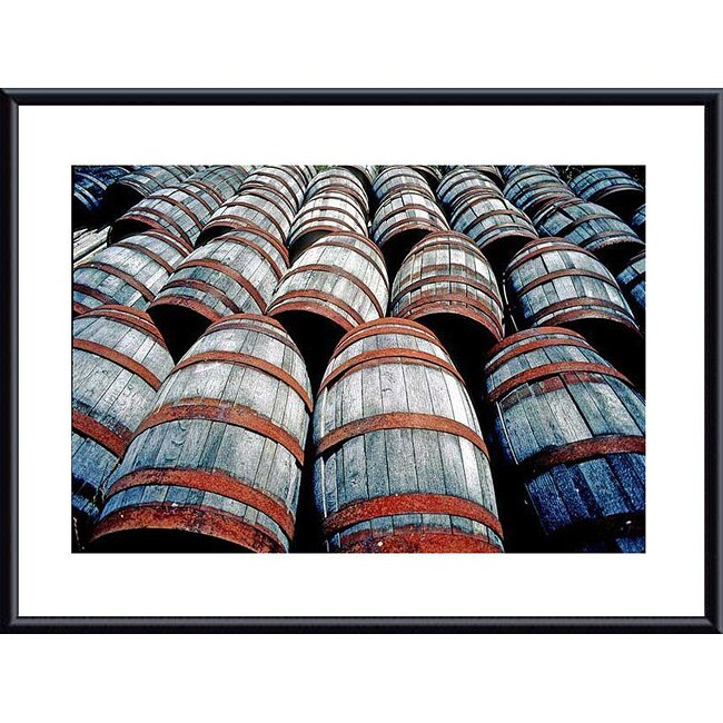 John K. Nakata 'Old Wine Barrels' Metal Framed Art Print