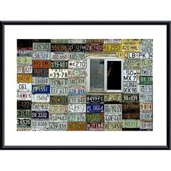 John K. Nakata 'License Plate Wall' Metal Framed Art Print