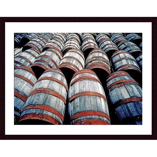 John K. Nakata 'Old Wine Barrels' Wood Framed Art Print