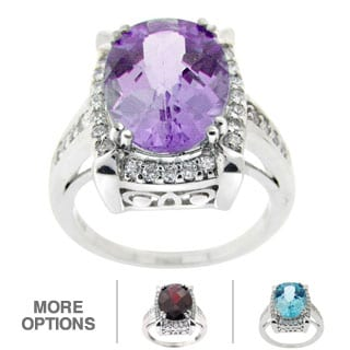 Glitzy Rocks Gemstone and Cubic Zirconia Ring