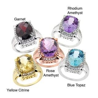 Glitzy Rocks Gemstone and Cubic Zirconia Ring