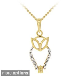 DB Designs 18k Yellow Gold over Silver Diamond Accent Owl Necklace