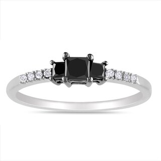 Haylee Jewels Sterling Silver 1/2ct TDW Black-and-white Princess-cut Diamond Ring (G-H, I3)