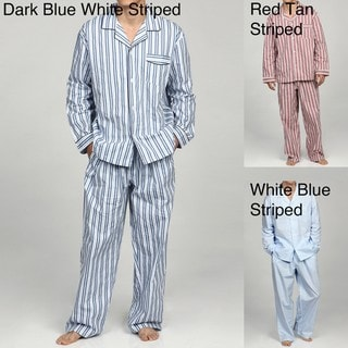 Alexander Del Rossa Men's Striped Cotton Pajama Set