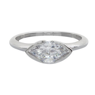 NEXTE Jewelry Silvertone Marquise Cubic Zirconia Solitaire Ring