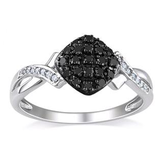 Miadora 10k White Gold 1/4ct TDW Black and White Diamond Ring (G-H, I2-I3)