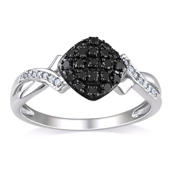 Haylee Jewels 10k White Gold 1/4ct TDW Black and White Diamond Ring (G-H, I2-I3)