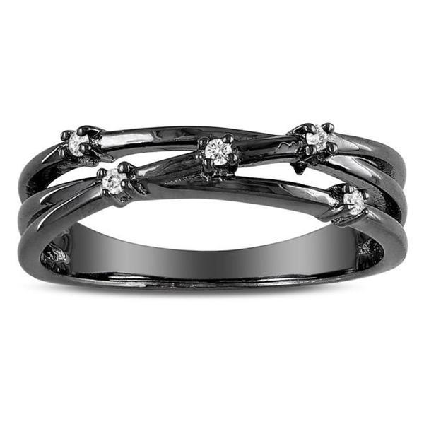 Miadora Sterling Silver Round White Diamond Accent Crossover Ring