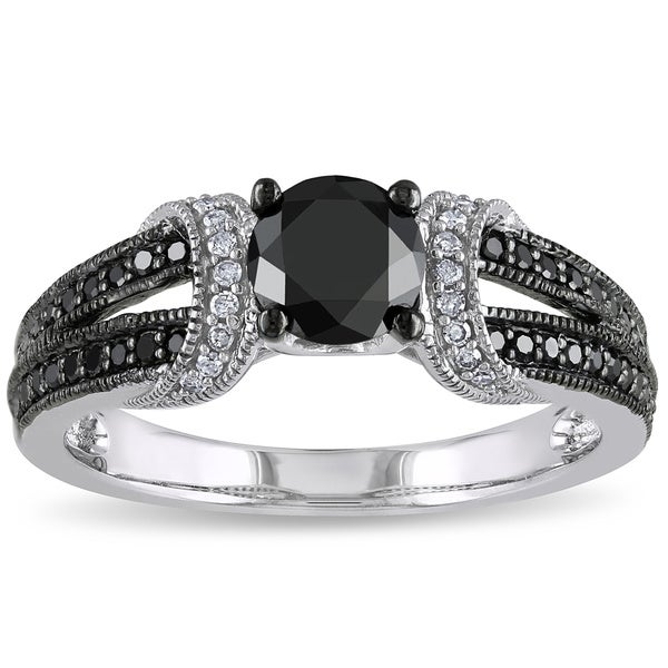 Miadora 1 CT Black and White Diamond TW Fashion Ring 10k White Gold GH I2;I3 Black Rhodium Plated