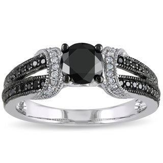 Miadora 10K White Gold 1Ct TDW Black and White Diamond Ring