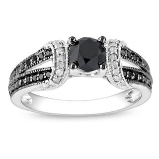 Miadora 10K White Gold 1Ct TDW Black and White Diamond Women's Ring