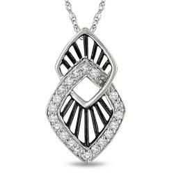 Miadora 10k White Gold 1/5ct TDW Round Diamond Fashion Necklace (G-H, I2-I3)