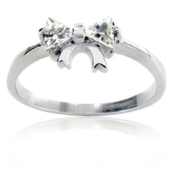 West Coast Jewelry Stainless Steel Cubic Zirconia Bowtie Setting Ring