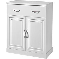 Akadahome Antique White with Maple Interior Multipurpose Base Cabinet