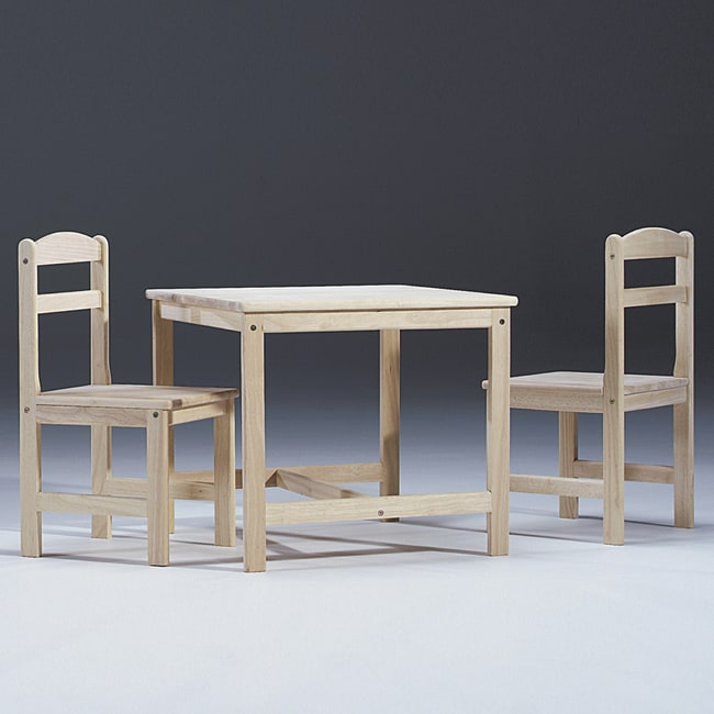 Unfinished Parawood Children's 3-piece Table and Chair Set