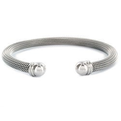 West Coast Jewelry Stainless Steel Domed Mesh Cuff Bracelet