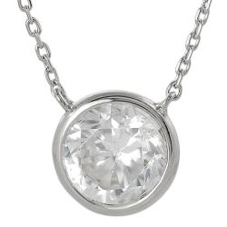 Silvertone Round-cut Cubic Zirconia Necklace