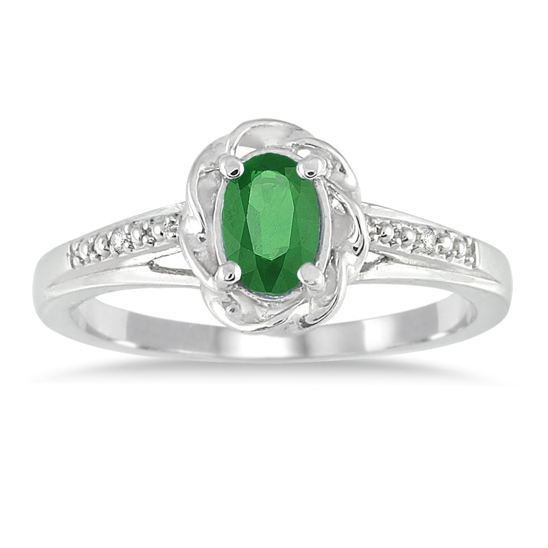 Marquee Jewels 10k White Gold Emerald and Round-cut Diamond Accent Ring