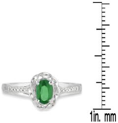 10k White Gold Emerald and Round-cut Diamond Accent Ring