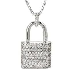 Journee Collection Silvertone Cubic Zirconia Lock Necklace