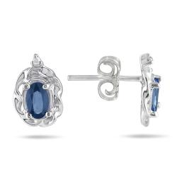 10k White Gold Sapphire and Diamond Accent Earrings