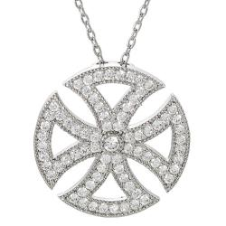 Journee Collection Silvertone CZ Cross Pattee Necklace