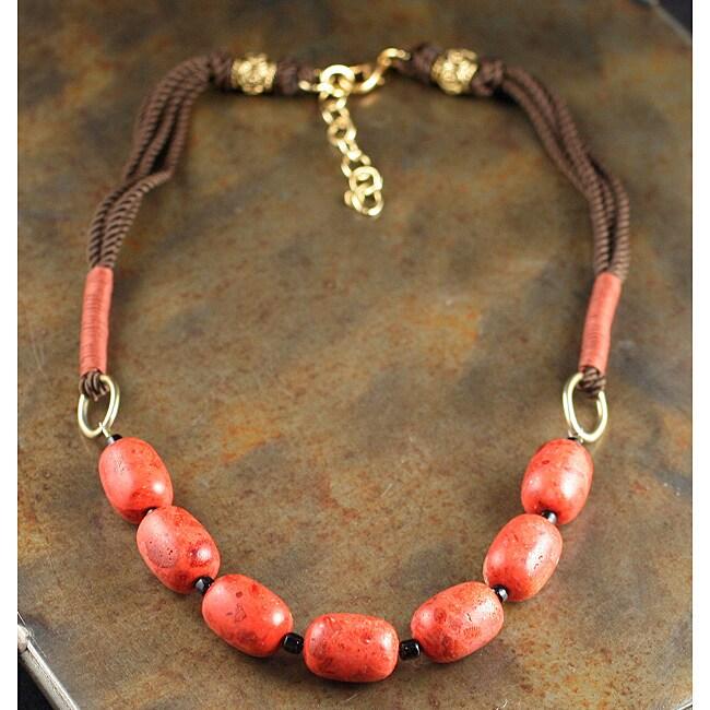 Peyote Bird Designs Sponge Coral and Silk Cord Necklace (China)