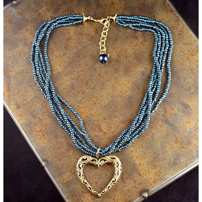 Peyote Bird Designs Multi-Strand Heart Necklace (China)