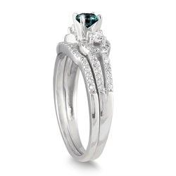 Marquee Jewels 10k White Gold 3/4ct TDW Blue and White Diamond Bridal Ring Set (I-J, I1-I2)