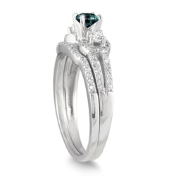 10k White Gold 3/4ct TDW Blue and White Diamond Bridal Ring Set (I-J, I1-I2)