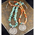 Peyote Bird Designs Carnelian and Howlite Tooled Necklace
