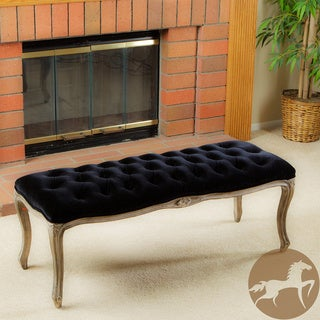 Christopher Knight Home Tufted Black Velvet Bench