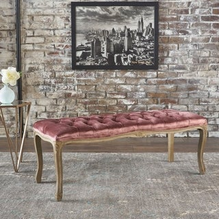 Christopher Knight Home Tufted Black Fabric Bench