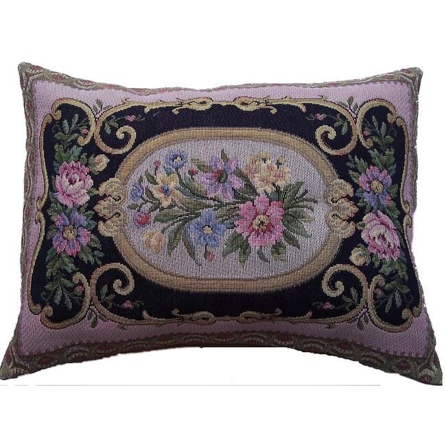 Corona Decor Italian-woven 34in.x 22in. Floral Decorative Pillow