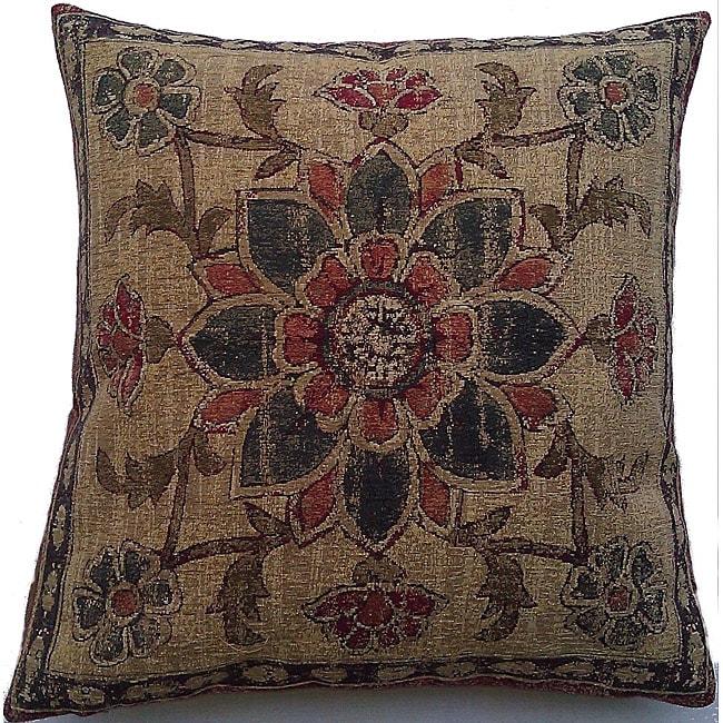 Corona Decor Belgium Woven Floral Decorative Pillow with Zipper Closure