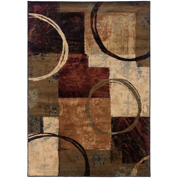 Blocks and Rings Brown/ Black Area Rug (7'8 x 10'10)