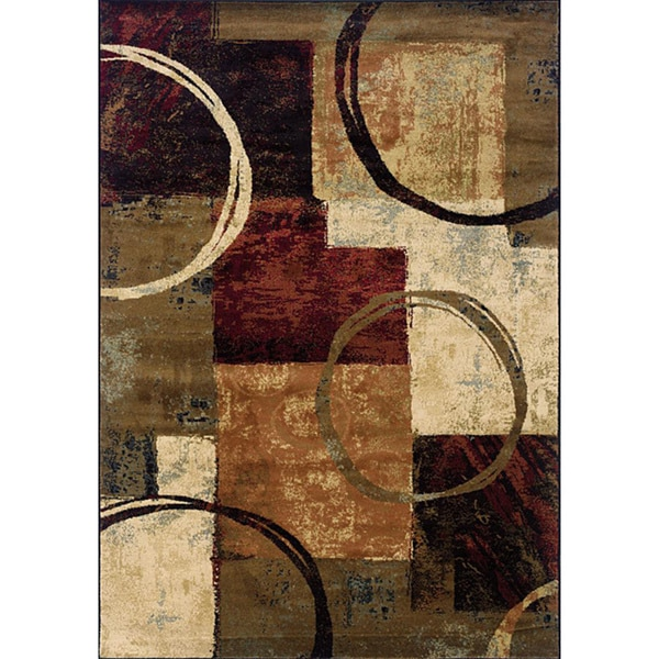 Blocks and Rings Brown/ Black Area Rug (7'8 x 10'10)