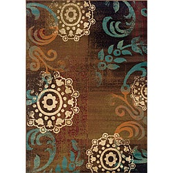 Brown/Blue Polypropylene Transitional Area Rug (5' x 7'6