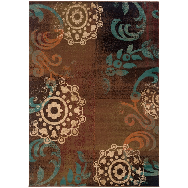 Brown Blue Transitional Area Rug 5 X 76