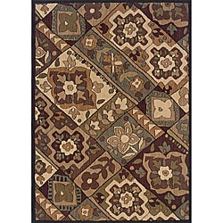 Messina Black/ Purple Area Rug (5'3 x 7'6)
