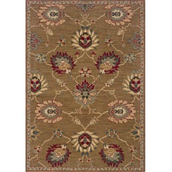 Berkley Tan/ Red Transitional Area Rug (6'7 x 9'6)