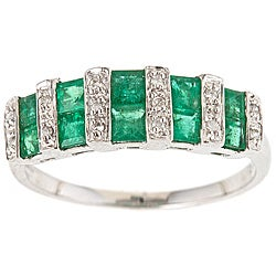 D'Yach 14k White Gold Emerald and Diamond Accent Ring
