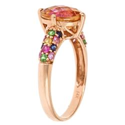 Anika and August 14k Rose Gold Orange Topaz and Multi-gemstone Ring